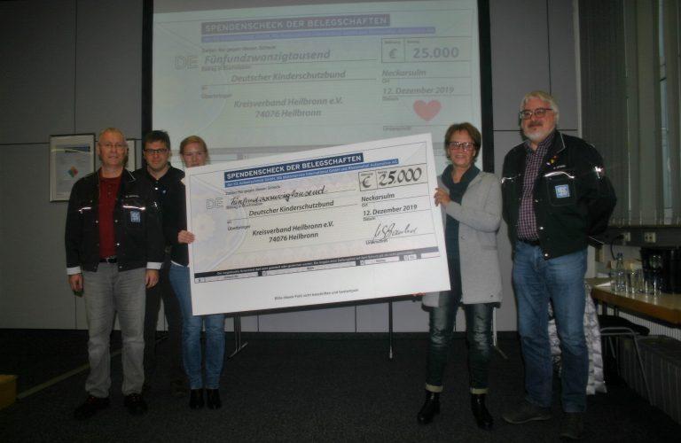 Spende der Belegschaften der KS Kolbenschmidt GmbH, Rheinmetall Automotive AG und der MS Motorservice GmbH